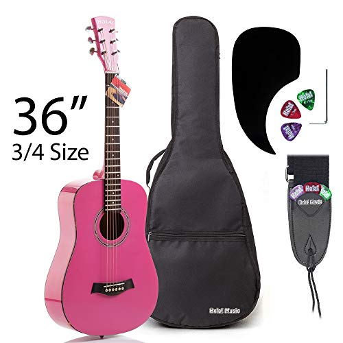Acoustic Guitar Bundle Junior (Travel) Series by Hola! Music with D'Addario EXP16 Steel Strings, Padded Gig Bag, Guitar Strap and Picks, 3/4 Size 36 Inch (Model HG-36PK), Glossy Pink]()