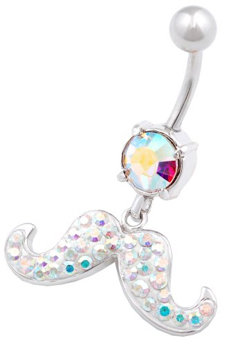 Price comparison product image beautiful Moustach dangly belly button ring 14g 3/8 stainless steel navel piercing bar body jewelry BENQ