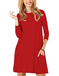 Womens Casual Pockets Plain Flowy Simple Swing Tunic Loose Dress
