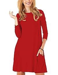 Women's Long Sleeve Pockets Casual Swing Plain T-shirt Dress