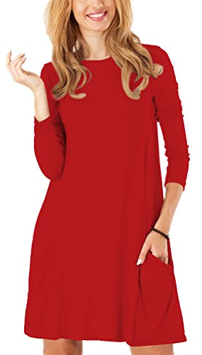 - Zero City Womens Casual Pockets Plain Flowy Simple Swing T-Shirt Loose Dress, 11red, Small