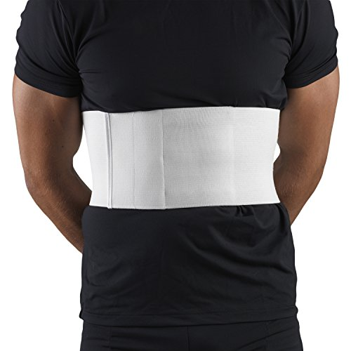 OTC Chest Panel Elastic Compression Universal Fit Rib Belt for Men, White, Large