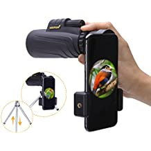 Mespirit 10x42 Monocular Telescope for Smartphone Compact Night Vision High Power Spotting Scope HD BAK4 with Phone Adapter Mount Tripod for Adults Kids Outdoor Hunting Camping Fishing Traveling