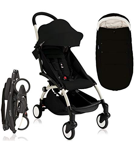 Babyzen YOYO + Stroller, White/Black Includes Black Footmuff