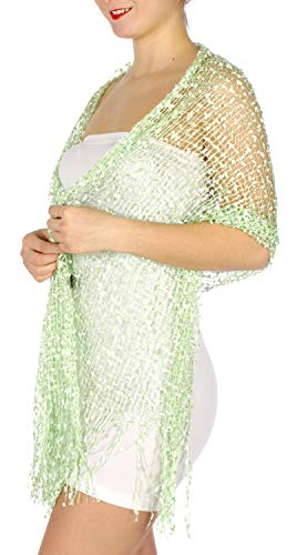 Evening Shawls And Wraps for Dresses, Lightweight Metallic Fishnet Scarf, Mini frills shawl, Green