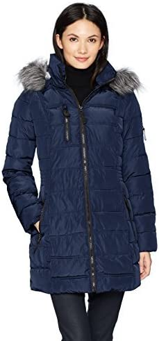 Nautica Womens 3//4 Puffer with Faux Fur Trimmed Hood