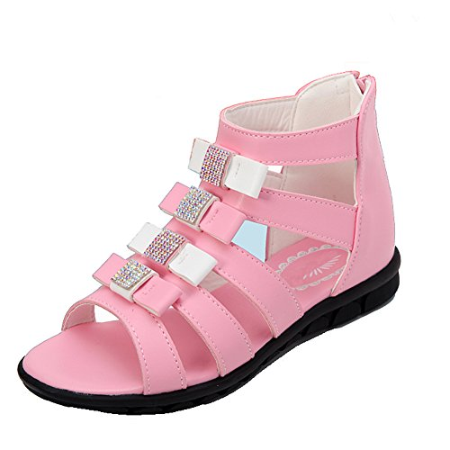 Getmorebeauty Girls Diamante Glitter Bows Process Gladiator Pink Flat Sandals 5 M US Big Kid