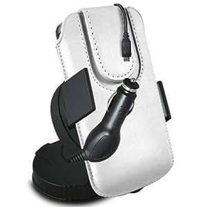ONX3 Acer Liquid E2 Leather Slip cuerda protectora magnética de la PU Pull In Pouch con el caso de Quick Release, 360 que gira la horquilla del parabrisas del coche y 12v Micro USB cargador de coche (negro)