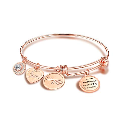 FEELMEM New Grandmother Gifts The Best Moms Get Promoted to Grandma Bangle Bracelet Baby Announcement Gift for Grandma Grammyy Gift for Cousin BBF Best Friend (RG)