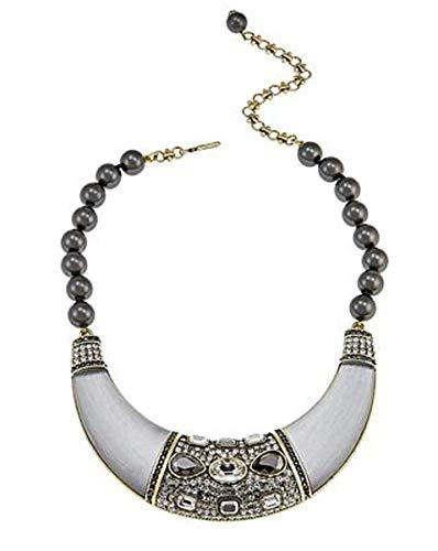 Heidi Daus Swarovski Crystal Beaded Bib Drop Necklace ~ Say It with Style (Clear)