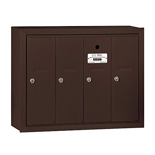 Salsbury Industries 3504ZSU Surface Mounted Vertical Mailbox with USPS Access and 4 Doors, Bronze ()