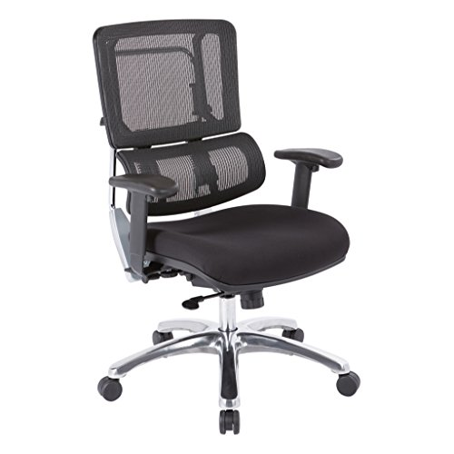 Office Star Breathable Black Vertical Mesh Back and Padded Coal FreeFlex Mesh Seat Managers Chair with Adjustable Arms and Polished Aluminum Accents