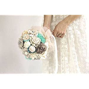 Bridal bouquet, fabric flowers wedding bouquet, aqua blue ivory bouquet Made to order 38