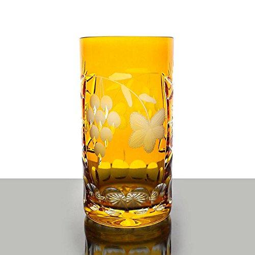 Longdrink, water glass ''Traube'' (340ml) yellow, modern style, glass (CRISTALICA KINGDOM powered by CRISTALICA)