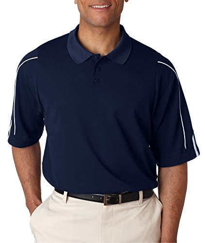 adidas A76 Mens ClimaLite 3-Stripes Cuff Polo - Collegiate Navy & White, Large Adidas Training Wear