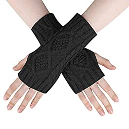 Women Fingerless Gloves – Women's Winter Arm Fingerless Gloves Mitten Wrists Cable Knitted Warmers Arm Gloves with Thumb Hole For Ladies Gift