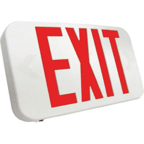Emergensee Lighting SEEXA2RWEM Compact LED Exit Sign Universal FaceLED Exit Sign Emergency Light Lighting Emergency LED Light/Battery Back-up Red Letter