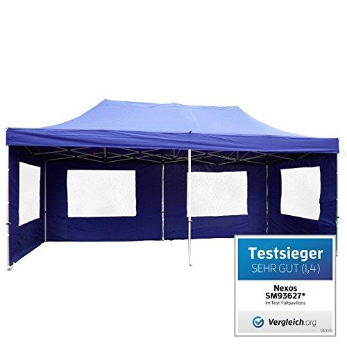 Falt-Pavillon Partyzelt mit Seitenteilen solide Ausführung für Garten Terrasse Feier Markt als Unterstand Plane wasserdichtes Dach  270/m² 3 x 6 m blau