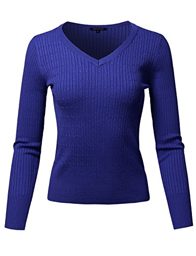Basic Long Sleeve V-Neck Cable Knit Classic Sweater Dark Royal (Blue Cable Knit Sweater)