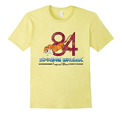Men's Spring Break 84 Tiger 80s Step Brothers Funny Movie T-Shirt XL Lemon (80s Male)