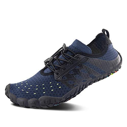 FEIFAN Men Women Water Shoes Quick Dry Adult Beach Swim Barefoot Lightweight Water Shoes Blue 02 45