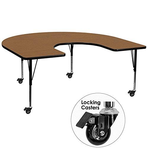 Flash Furniture Mobile 60''W x 66''L Horseshoe Oak Thermal Laminate Activity Table - Height Adjustable Short Legs