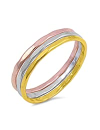 Tri Color Tone Sterling Silver Three Piece Ring Sets Fashion Midi Stackable Hammered Band Sizes 5-10