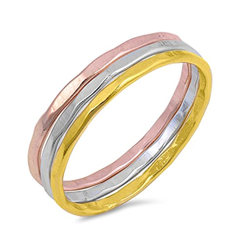 (Tri Color Tone Sterling Silver Three Piece Ring Sets Fashion Midi Stackable Hammered Band Size 7)