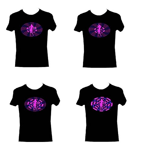 Swirl Lila Clubbing Dancing Queen Sound Reactive Equalizer EL Blinklicht T-Shirt