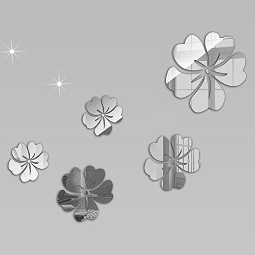Crystal Acrylic Stickers (Adarl DIY Crystal Acrylic Mirror Wall Stickers Modern Removable Floral Design Wall Art For Home Decor)