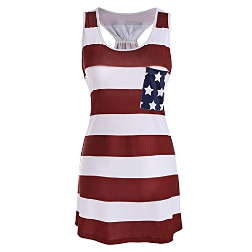 Kulywon Women USA Flag Stripe Printed Bowknot Tank Tops Blouse Casual T Shirt from Kulywon