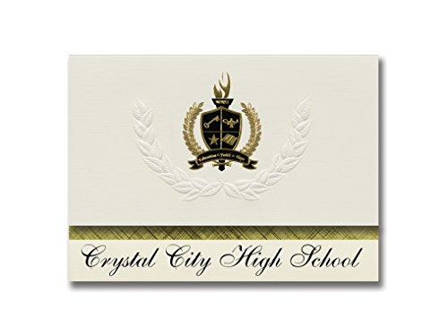 Signature Announcements Crystal City High School (Crystal City, MO) Graduation Announcements, Presidential style, Basic package of 25 with Gold & Black Metallic Foil seal (Crystal City High School Crystal City Mo)
