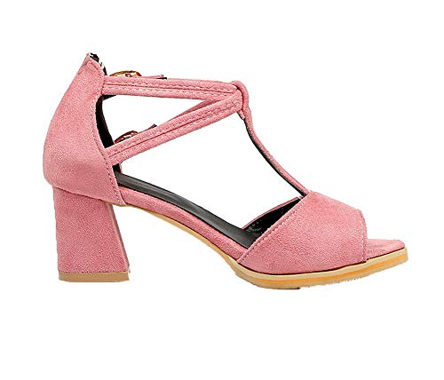 Puro FBUILD008778 Sandali Medio Rosa Aperta Fibbia Tacco Donna Punta AllhqFashion twqa688