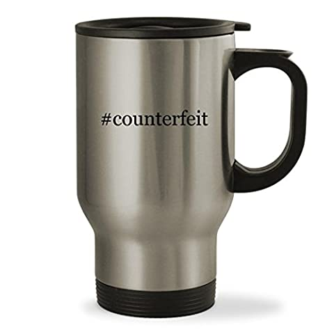 #counterfeit - 14oz Hashtag Sturdy Stainless Steel Travel Mug, Silver (Counterfeit Rolex)