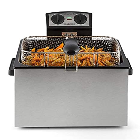 Klarstein QuickPro XXL 3000 Freidora - Tanque 5 L , Potencia 3000 W , Temperatura regulable , Hasta 190 °C , Temporizador , Visor en tapa , 3 x mangos ...