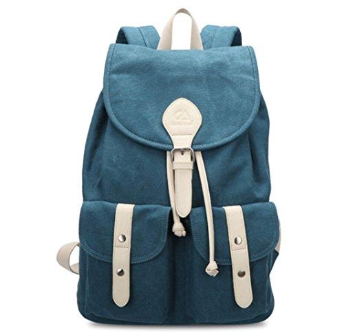 Tiny Chou Unisex Soft Canvas Drawstring Backpack Travel Daypack Schoolbag Blue