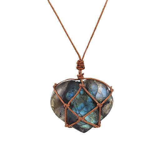 Dragons Heart Labradorite Necklace Natural Stone Pendant Wrap Braid Necklace Macrame Necklace for Men Women Energy Necklace,Brown Heart ()