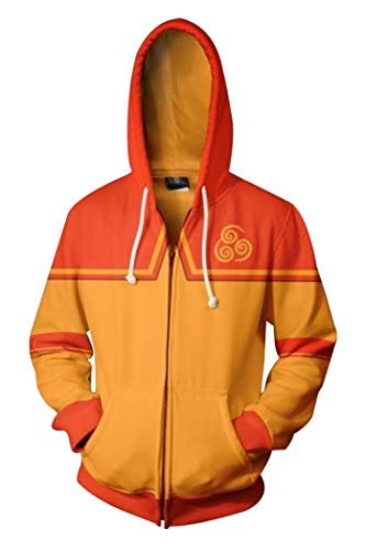 Dawn BG Unisex Adults Avatar Cosplay Costume Hoodie 3D Printed Zipper Jacket (S, Orange)]()