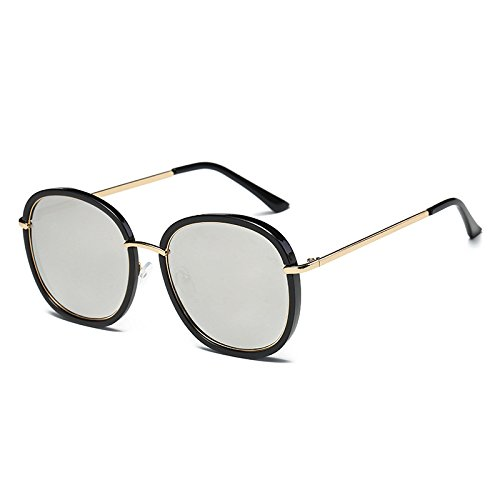 Silver Bastidor señoras de de Negro Flor UV sol Unidad C4 TL espejo sol Cuadrado Black gafas tonos gafas polarizadas C6 de Sunglasses gafas azul Mujer G410 8w4xxqtE