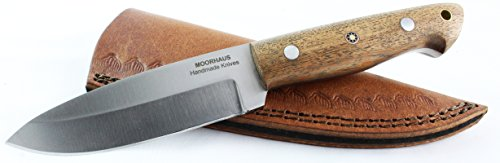 Moorhaus Bushcraft Knife - Wood Handle - Handmade Drop Point Hunting Skinning Knife - Includes Leather Sheath