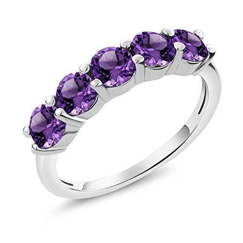 Gem Stone King Purple Amethyst 925 Sterling Silver Gemstone Birthstone Womens 5-Stone Ring (1.75 Ct Round Cut Available in size 5, 6, 7, 8, 9)