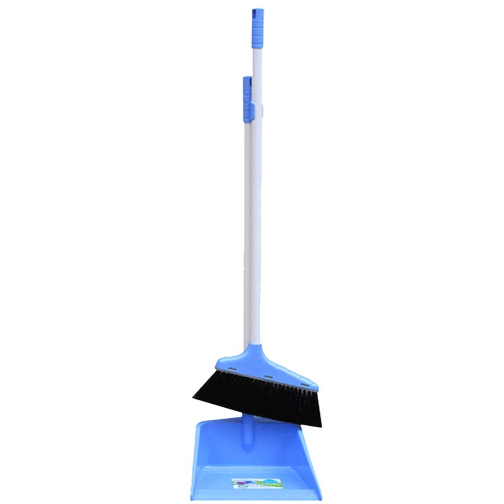 Household Soft Brush Broom And Dustpan Non-Slip Handle Multi-Function Windproof Broom Set Office Garage Schools Garden Cleaning Tools (Color : Blue) by HUABEI