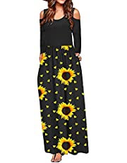 Wave166 Dames mode schoudervrije jurk extra lange jurk met zakken lange mouwen gehakte bloemen bedrukte vloerlange jurk voor vrouwen