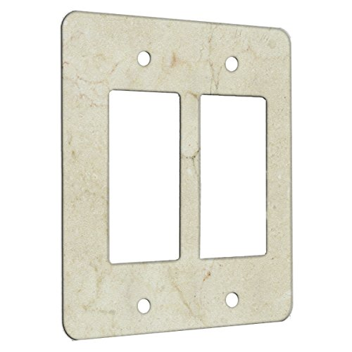 Wall Crema (Marble Crema Marfil Pattern on Metal Wall Plate - 2 Gang Decora)