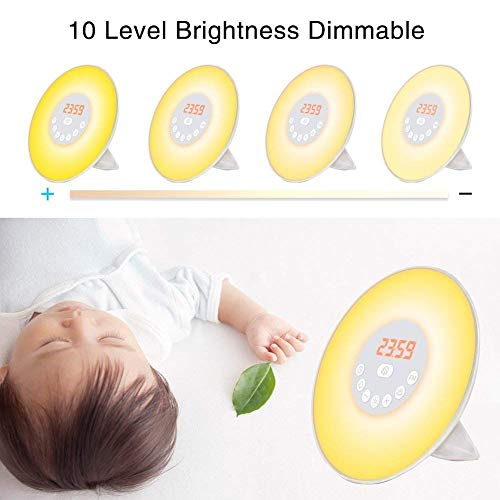 YGold Alarm Clock Wake Up Light Sunrise Sunset Simulation with FM Radio Natural Sounds and Snooze Function 7 Colors 10 Brightness Touch Control and USB Charge for Kids or Bedroom by YGold (Image #2)