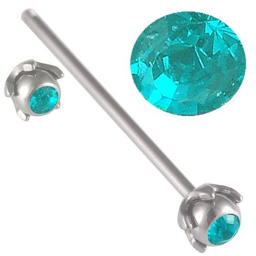 ear industriel barbell oreilles bijouterie piercing Bleu-Zircon Acier 14g 1,6mm 32mm 5mm cristal FLIJ