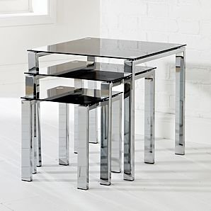 Odyssey nest of tables black glass amazon kitchen home odyssey nest of tables black glass watchthetrailerfo