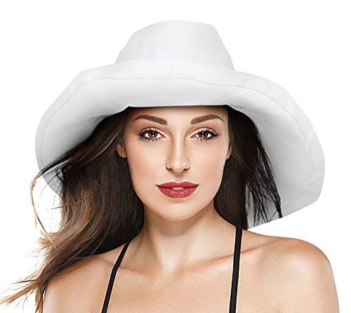 (Livingston Women Summer Sun Protective Solid Color Packable Sun Bucket Hat,White)