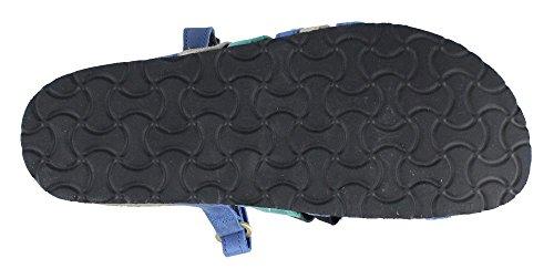 Nubuck Prescott Sandals Leather Naot Slide Women's Emerald Gold Oily Oily Blue Nubuck FPgZ5x