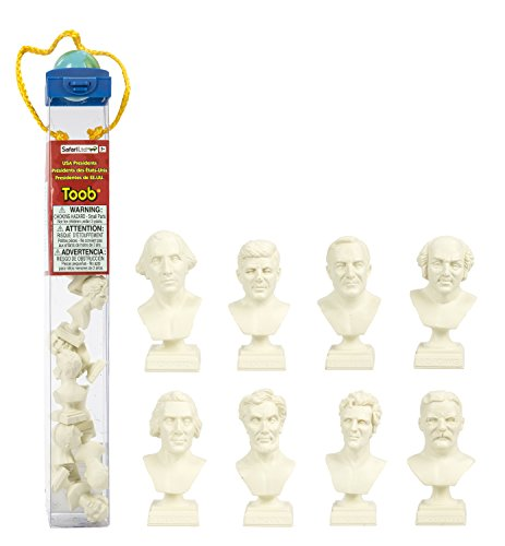 Safari Ltd U.S.A. Presidents TOOB with 8 Presidential Toy Figurines Including George Washington, Thomas Jefferson, John Quincy Adams, Andrew Jackson, Abraham Lincoln, Theodore Roosevelt, Franklin Roosevelt, and John F. Kennedy